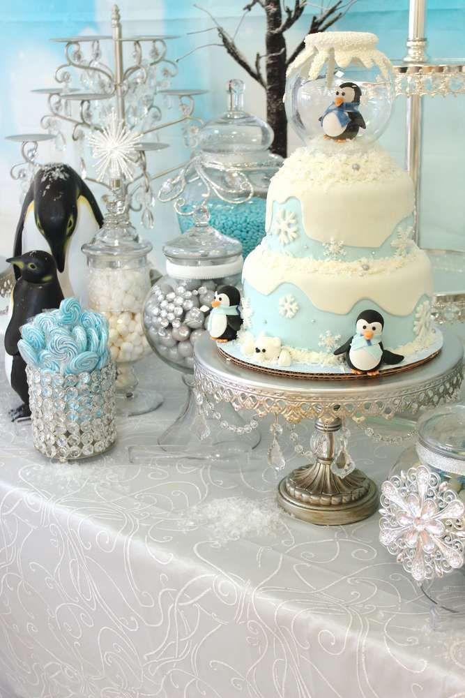 Photo of Pastel de fiesta de cumpleaños de invierno Onederland!  Puedes encontrar más ideas para fiestas en CatchMyParty.co …