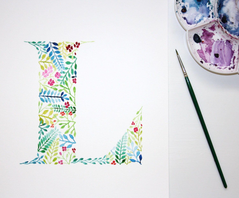 Letter L Wall Art Print Watercolour Artwork Hand Painted Nursery Decor Initial Print Letter L Initial Prints Nursery Art Letters Hand Lettering Inspiration