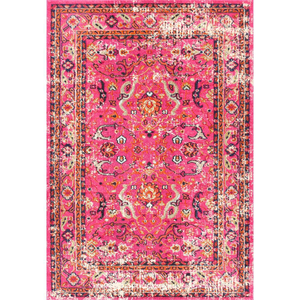 Distressed Floral Anabel Pink 3 ft. x 5 ft. Area Rug