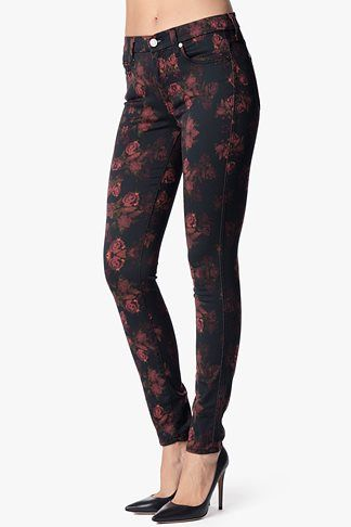 7 For All Mankind, The Skinny Contour in Rouge Roses Print, rouge roses, Womens : Denim : Skinny & Leggings, AU0301585A