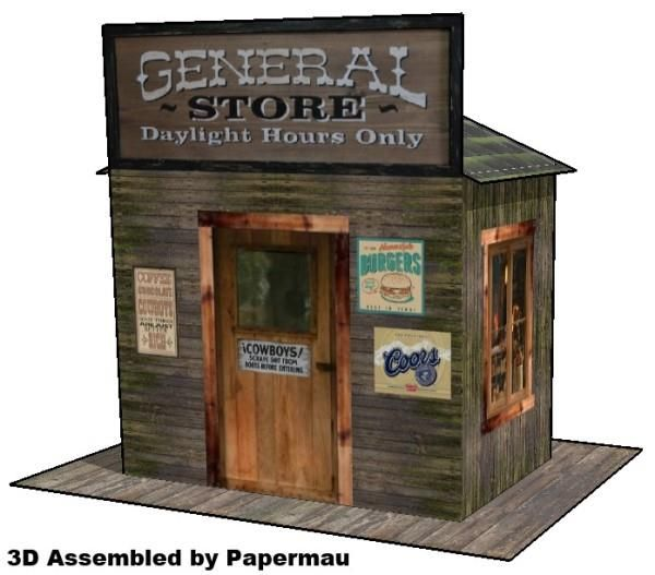 Western General Store for Diorama Free Paper Model Download - http://www.papercraftsquare.com/western-general-store-for-diorama-free-paper-model-download.html#Diorama, #House, #Store