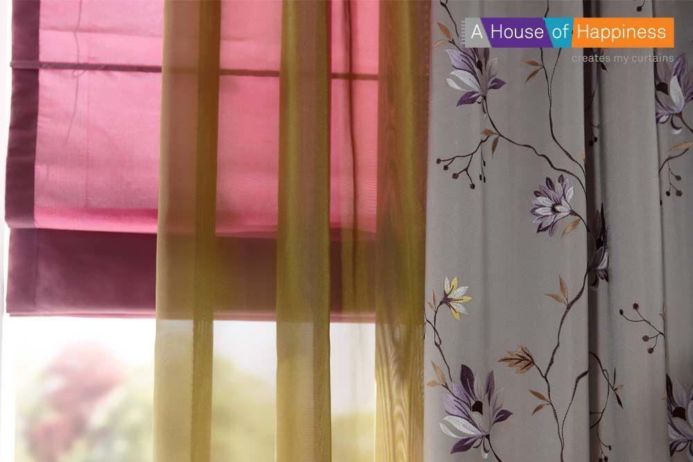ROMANTISCHE BLOEMEN | Vouwgordijnen in zijdelook Silke, of inbetween ...
