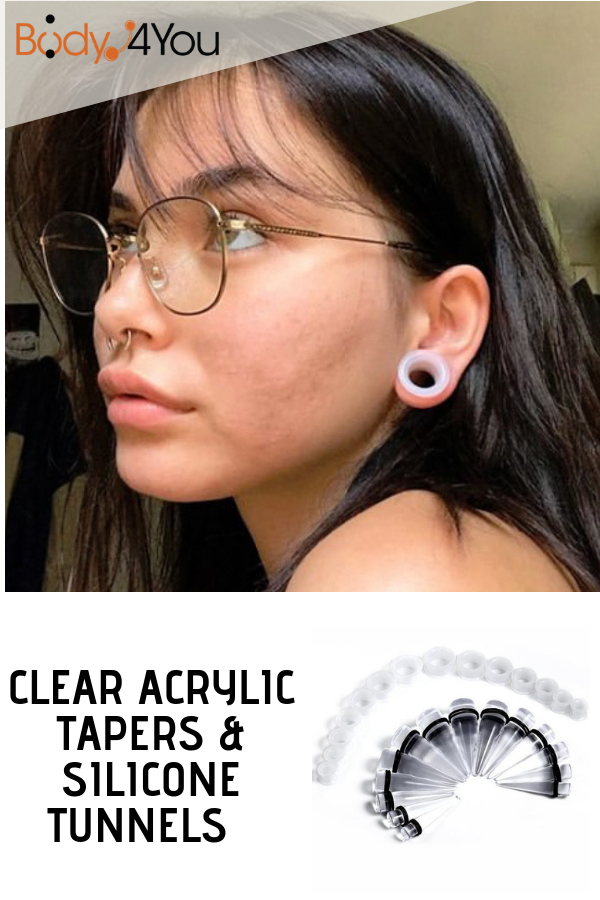 PiercingJ 4pcs Black Stainless Steel Tapers and Screw Tunnel Plugs Ear Expander Stretcher 12G-00G