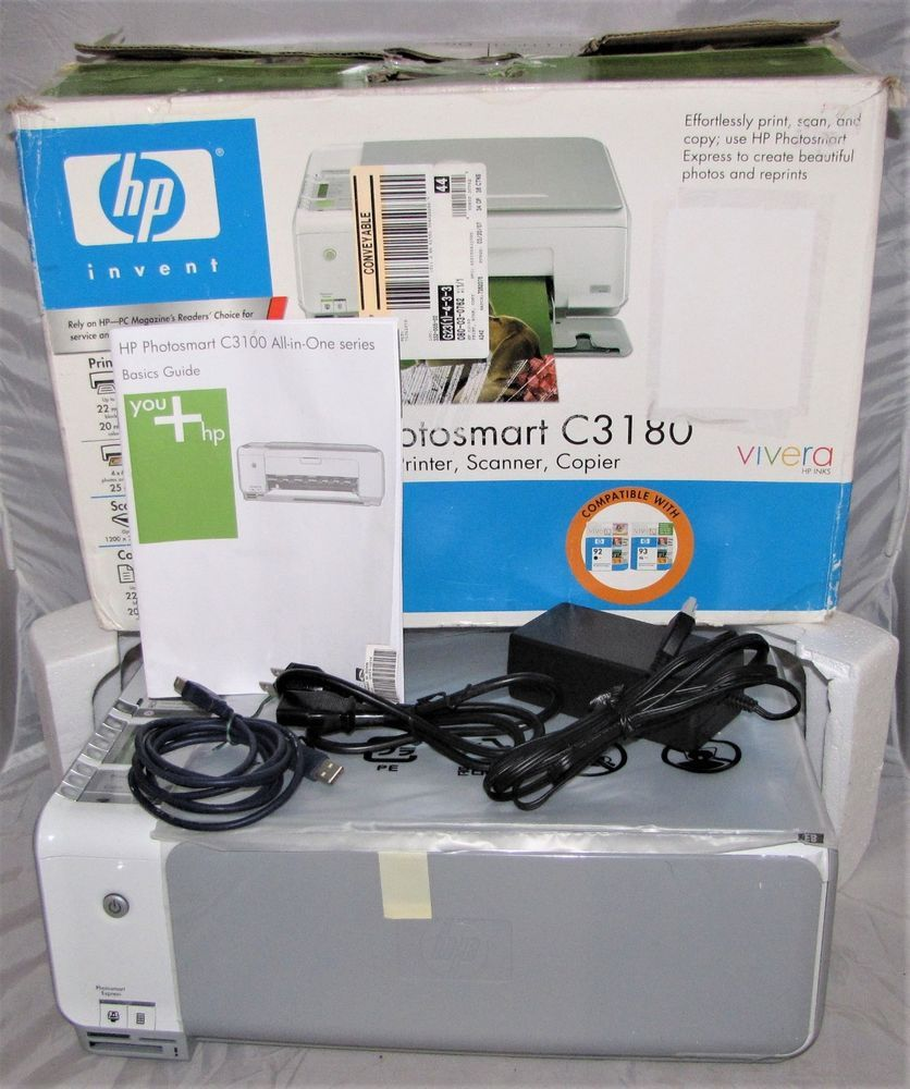 HP Photosmart C3180 All-In-One Inkjet Color Printer Scanner Copier All in  one #HP