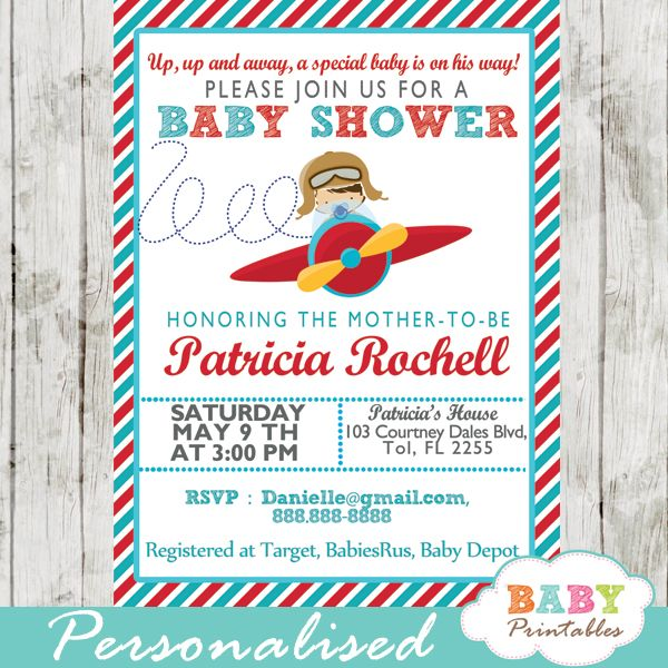 printable red and turquoise blue little pilot baby shower, Baby shower invitations