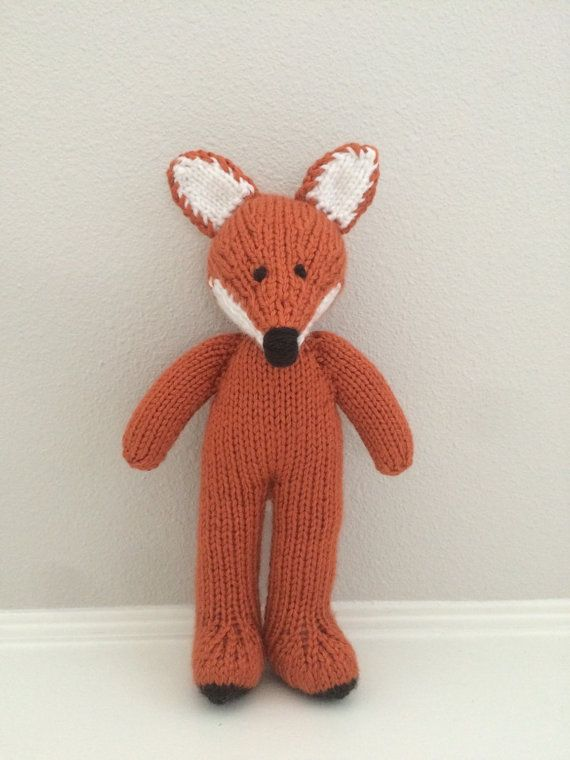 Fox Knitted Fox Stuffed Animal Soft Toy by EightLittleFingers