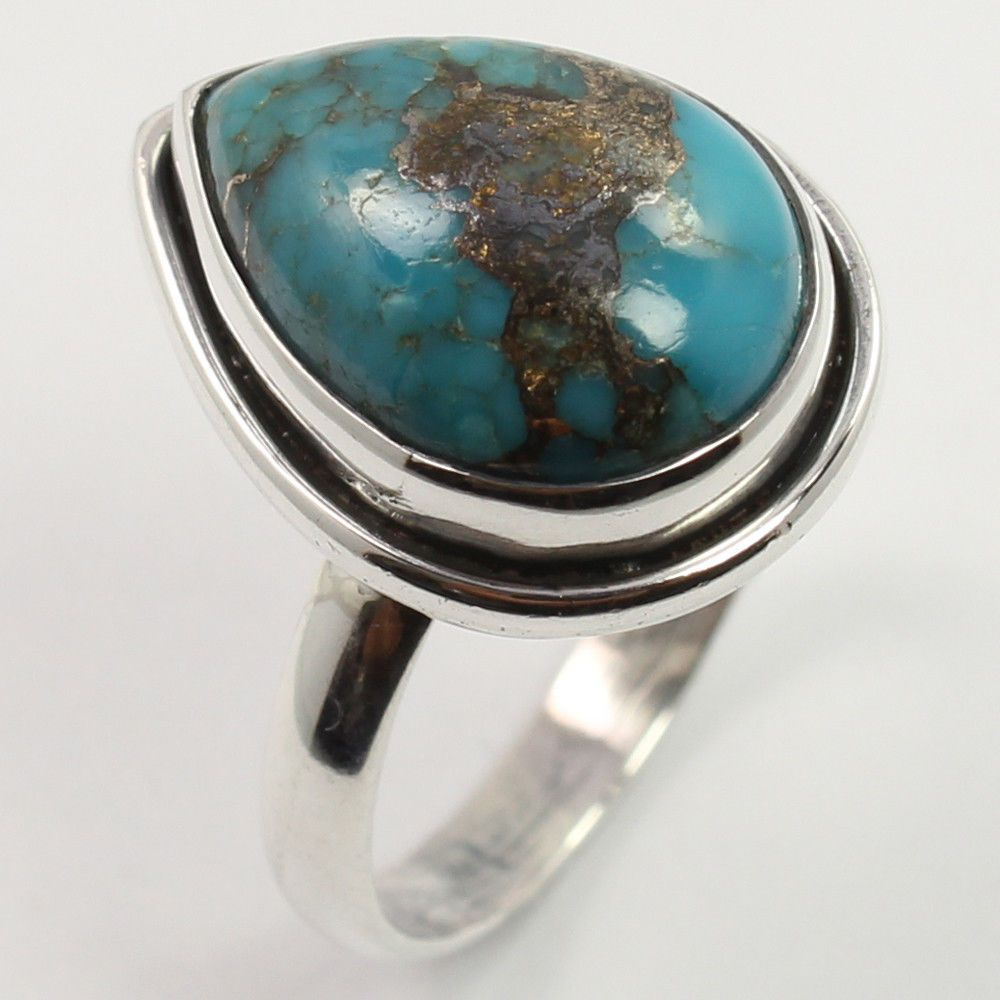 925 Sterling Silver Jewelry BLUE COPPER TURQUOISE Gemstone Ring Size US 5.75 NEW #SunriseJewellers #Fashion
