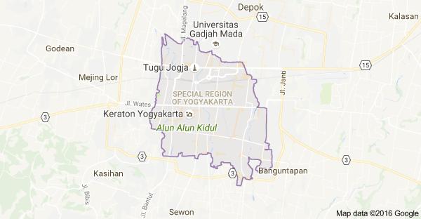 Map of Yogyakarta, Yogyakarta City, Special Region of Yogyakarta ...
