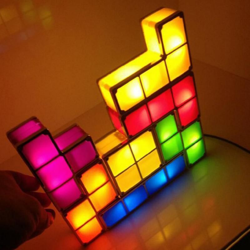 Perfect For The Gamer In Your Family Stackable Tetris Lamp Colorful Led Night Light Desk Lamp Decoration Home Decor Creative Lamps Lamp Shape Puzzles