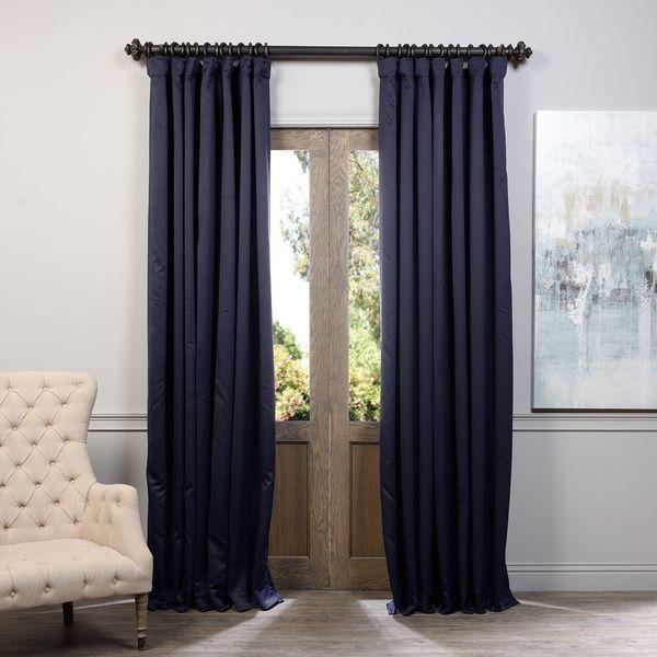 Eclipse Navy 96 X 100 Inch Blackout Curtain Single Panel Half Price Drapes Panels