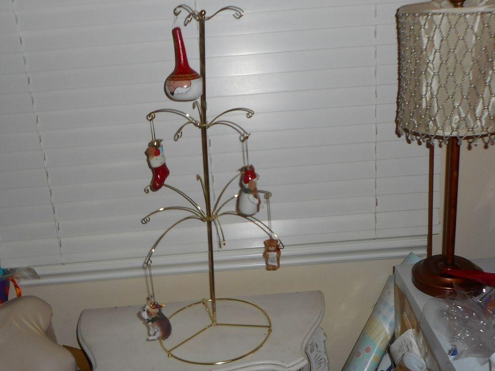 Gold Metal Tabletop Christmas Tree 12 Ornament Display