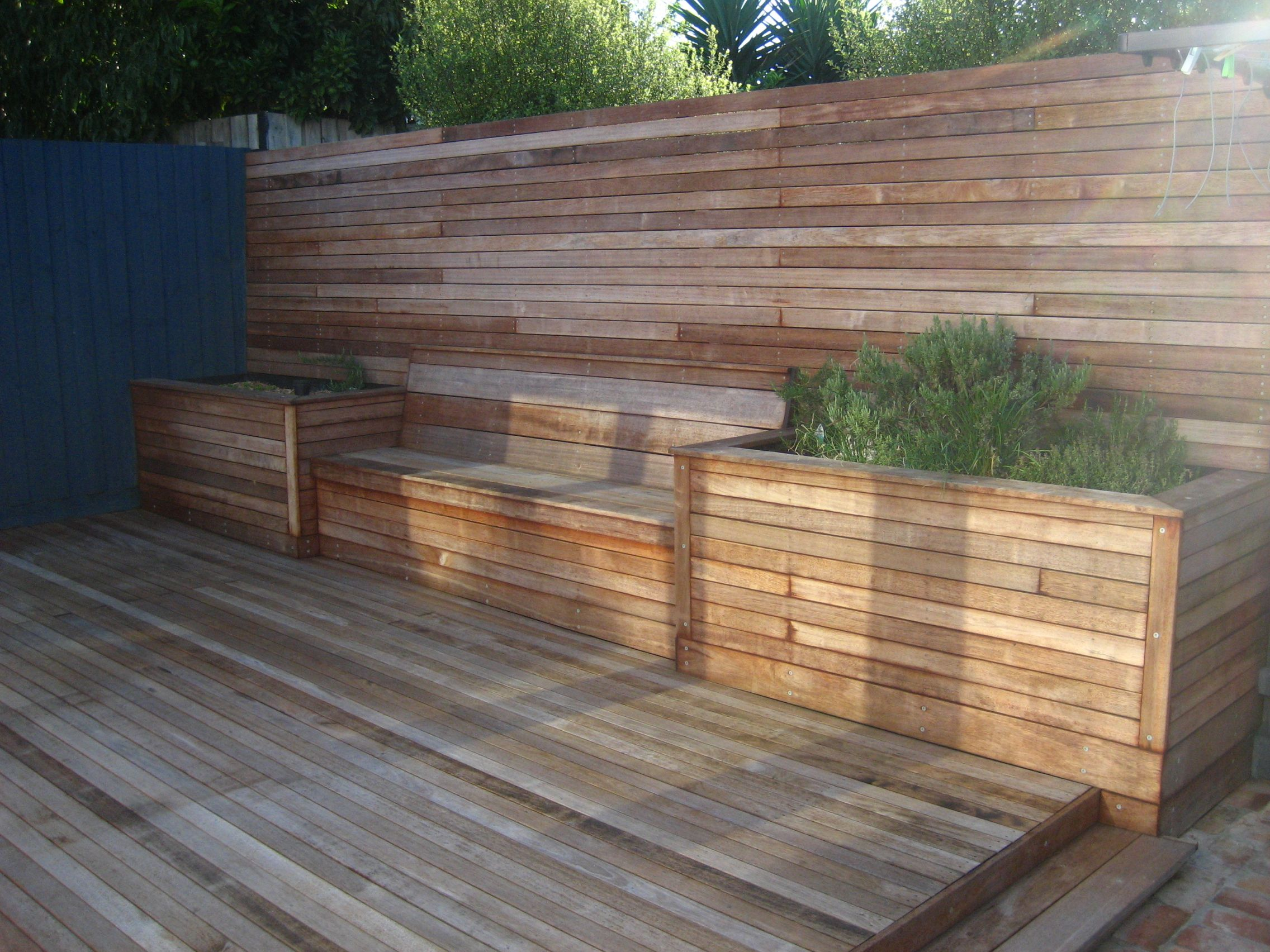 Timber Seating Area With Matching Decking And Raised