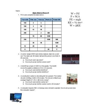 Work Power Worksheets Worksheets Power Understanding