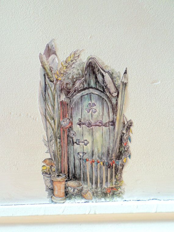 Fairy Door Decal Pixie Door Watercolour Wall Sticker Faerie Wall