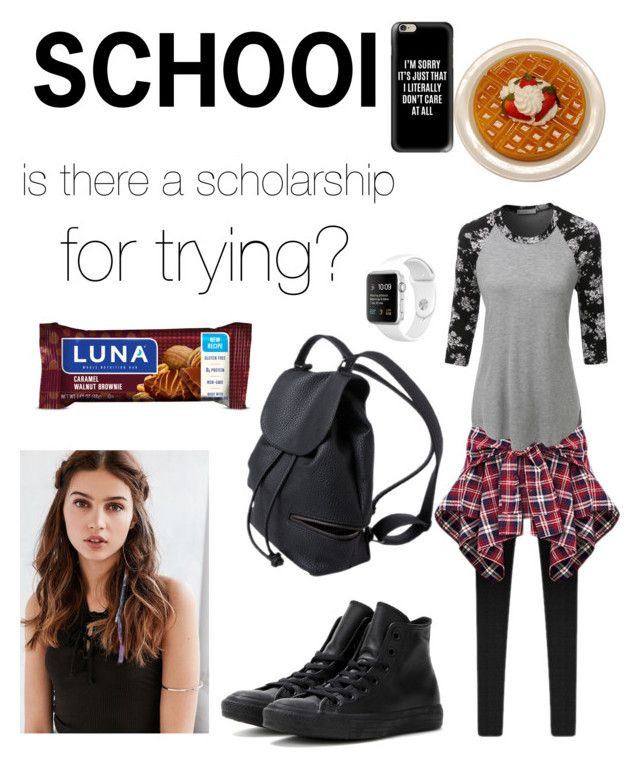 """is there a scholarship for trying?"" by stasia-ara ❤ liked on Polyvore featuring LE3NO, Converse, Casetify and REGALROSE"