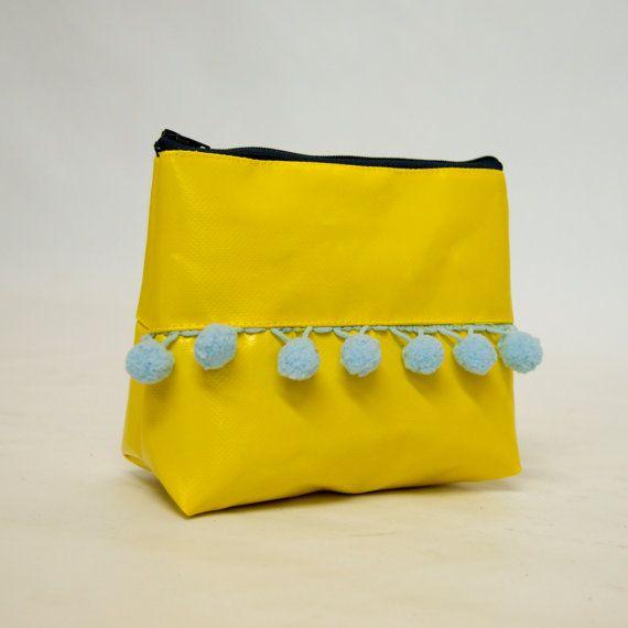 Handmade in UK Upcycled Yellow PVC & PomPom by wyattandjack