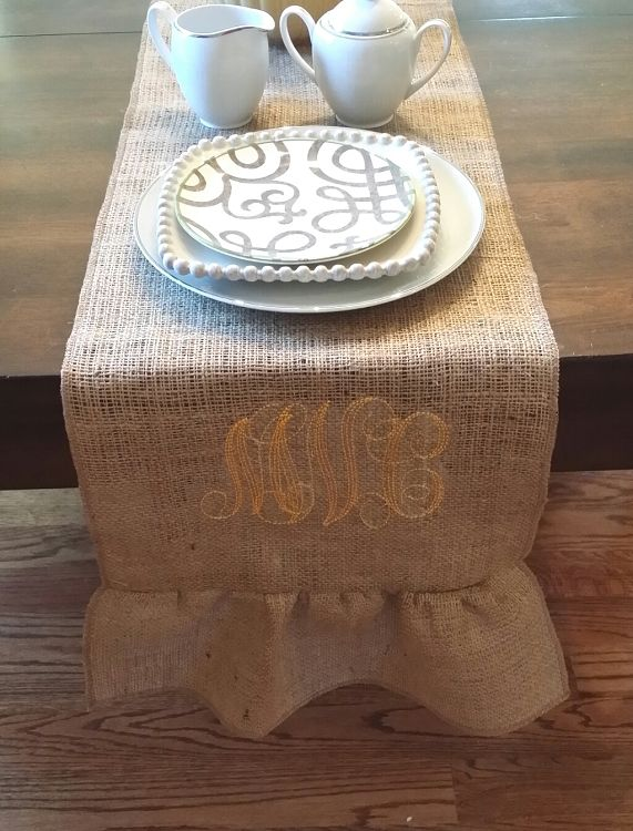 Burlap Ruffle Table Runner | FREE Monograms | FREE Shipping | The Preppy  Pair