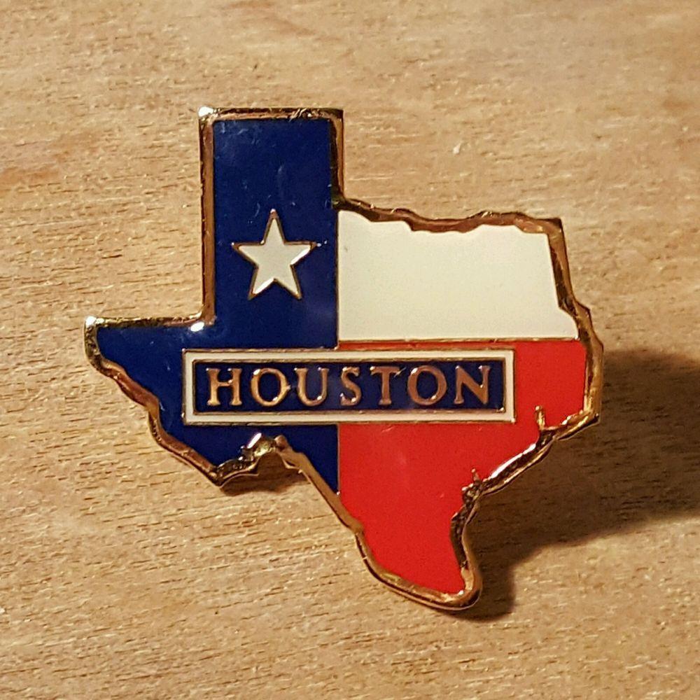 Vintage LONE STAR STATE Of TEXAS Flag Lapel PIN ~ HOUSTON ~ Gold Tone Metal  #