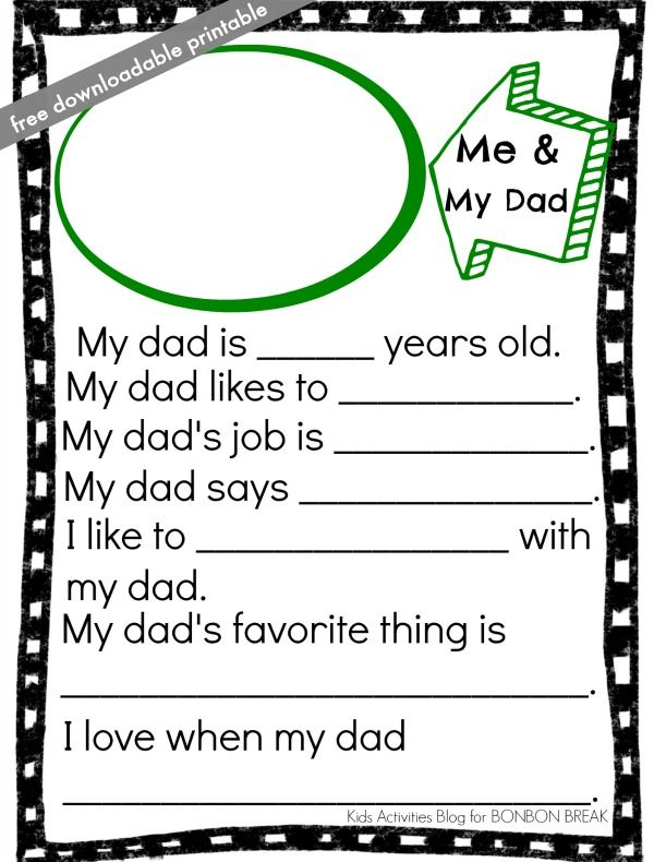 Father\'s Day Printable | Kid activities, Activities and Blog
