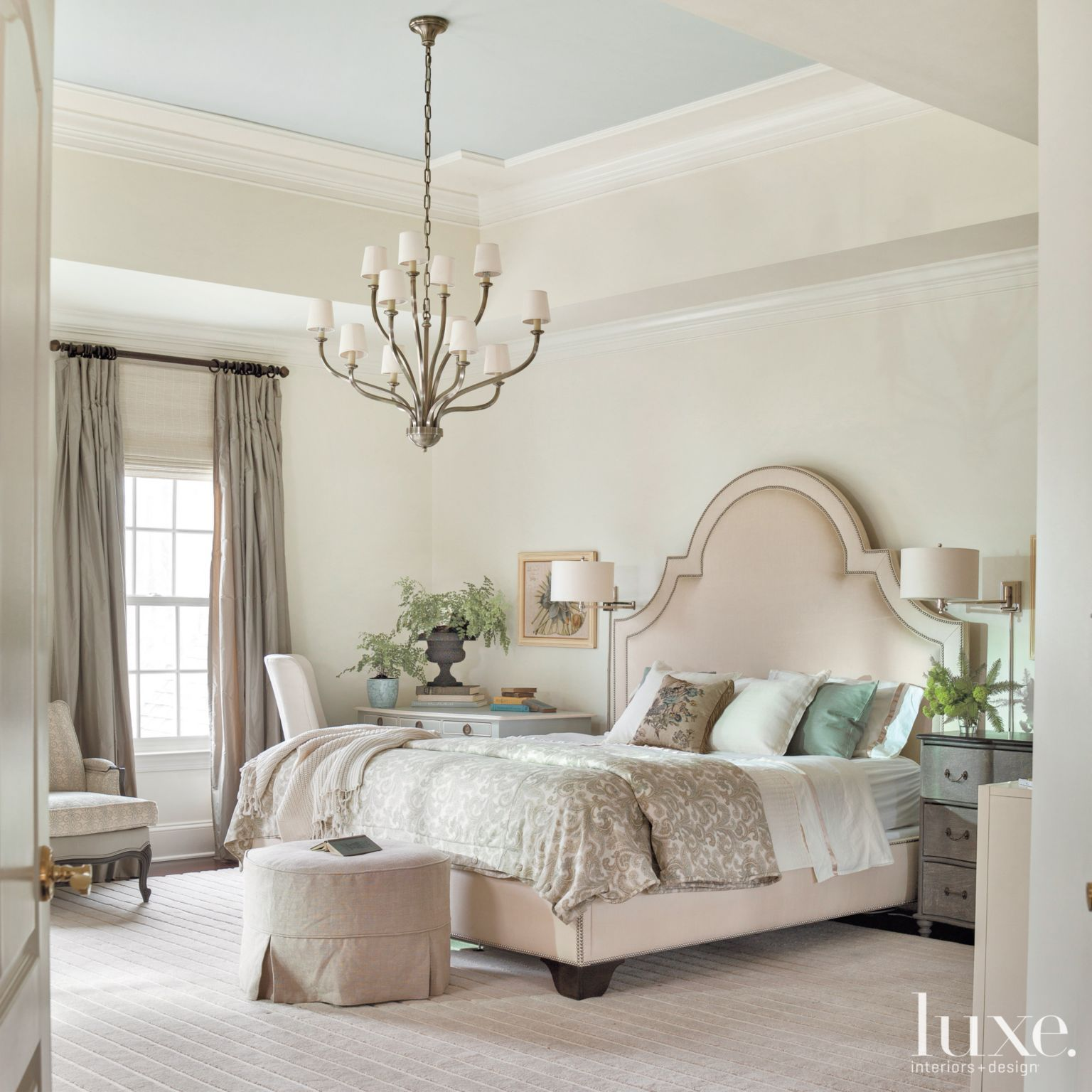 Transitional Cream Bedroom With Tray Ceiling Luxesource
