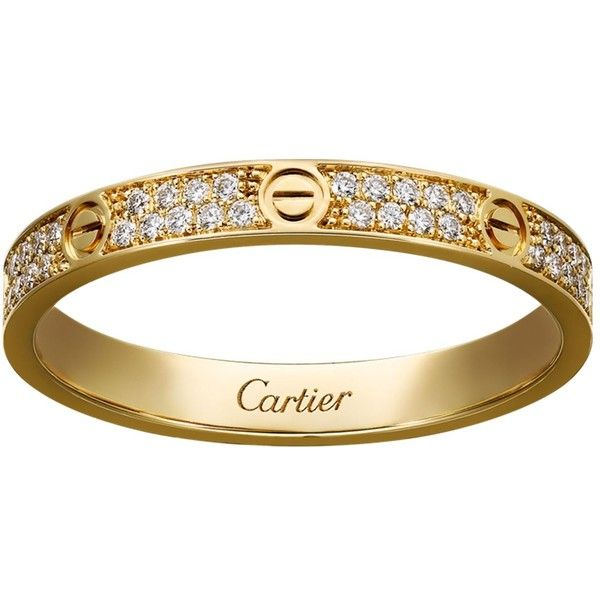 Cartier Small Yellow Gold Diamond Love Ring 4000 liked on