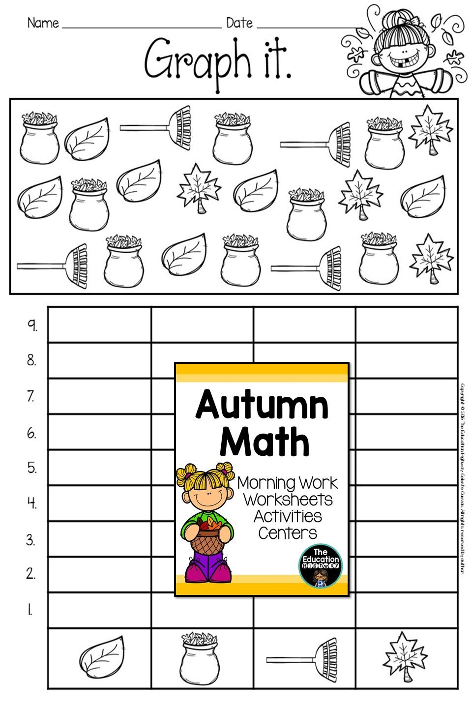 Graphing With Autumn Math For First And Second Graders Morning Work Worksheets Activiti Fall Math Morning Work Kindergarten Free Kindergarten Math Worksheets