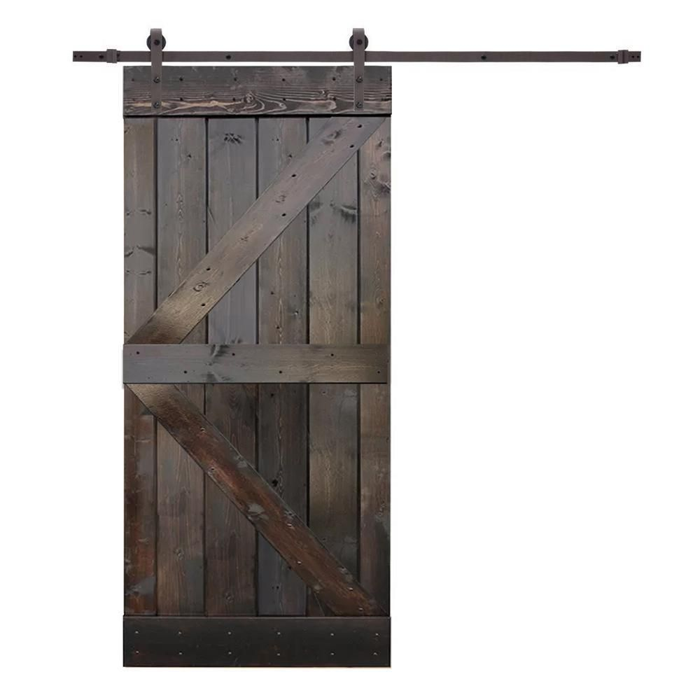 Calhome 36 In X 84 In K Style Knotty Pine Wood Sliding Barn Door With Hardware Kit Walnut Stain Wood Barn Door Diy Sliding Barn Door Diy Barn Door
