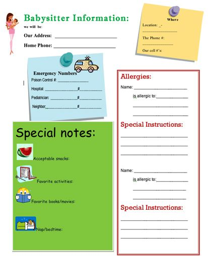 The Ultimate Babysitter'S Info Sheet! So You Don'T Forget Anything