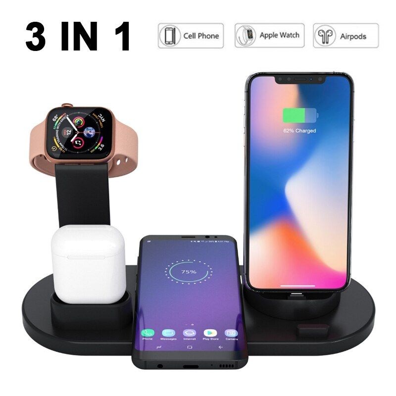 Wireless Charger 3 In 1 Wireless Charging Base For Apple Watch And Airpods Universal Compatib Apple Watch Wireless Charger Cell Phone Watch
