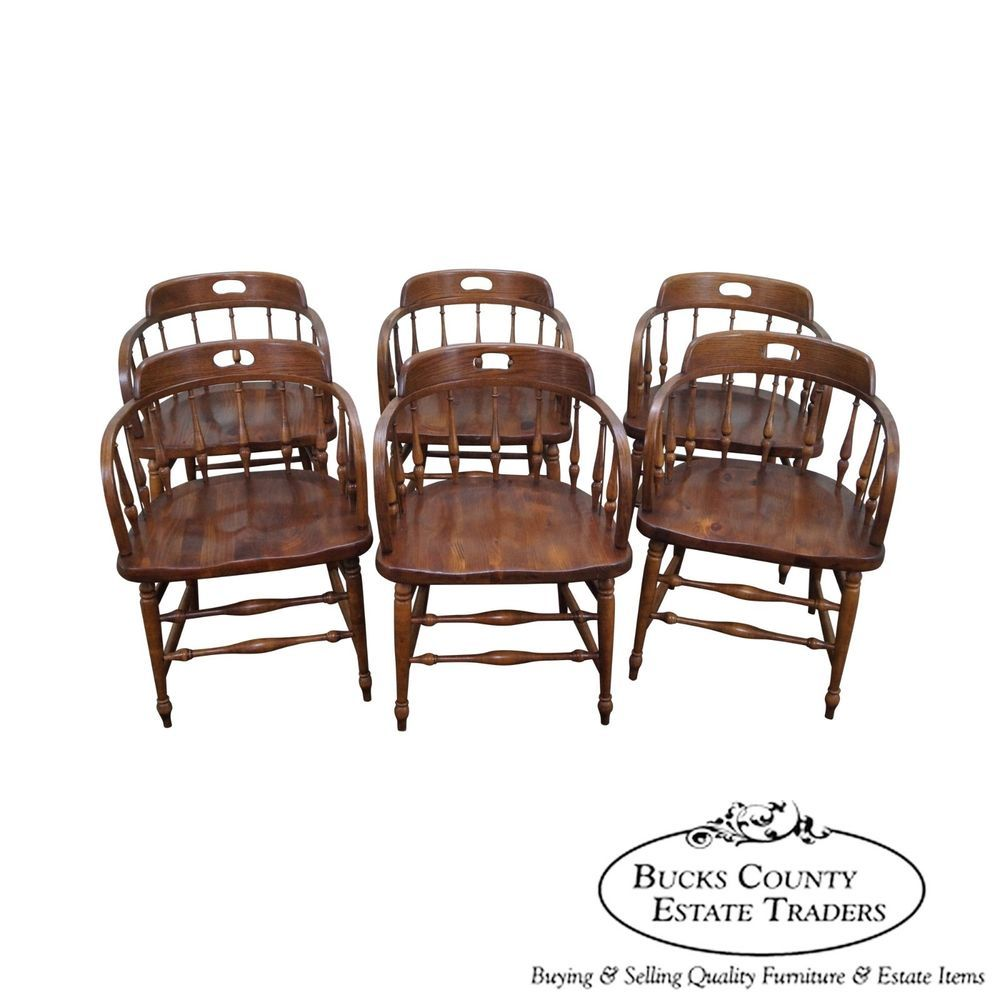 Ethan Allen Set of 6 Barrel Back Pub Style Dining Chairs ...