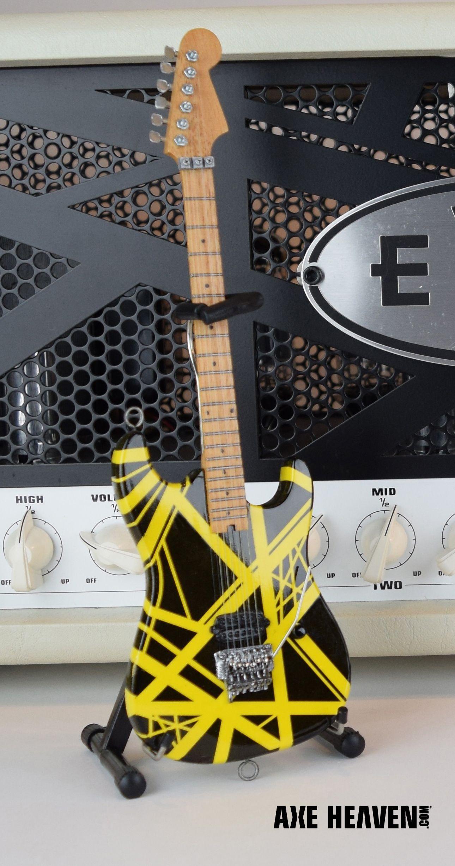 Evh Black Yellow Vh2 Bumblebee Eddie Van Halen Mini Guitar Replica Collectible Officially Licensed Van Halen Guitar Eddie Van Halen