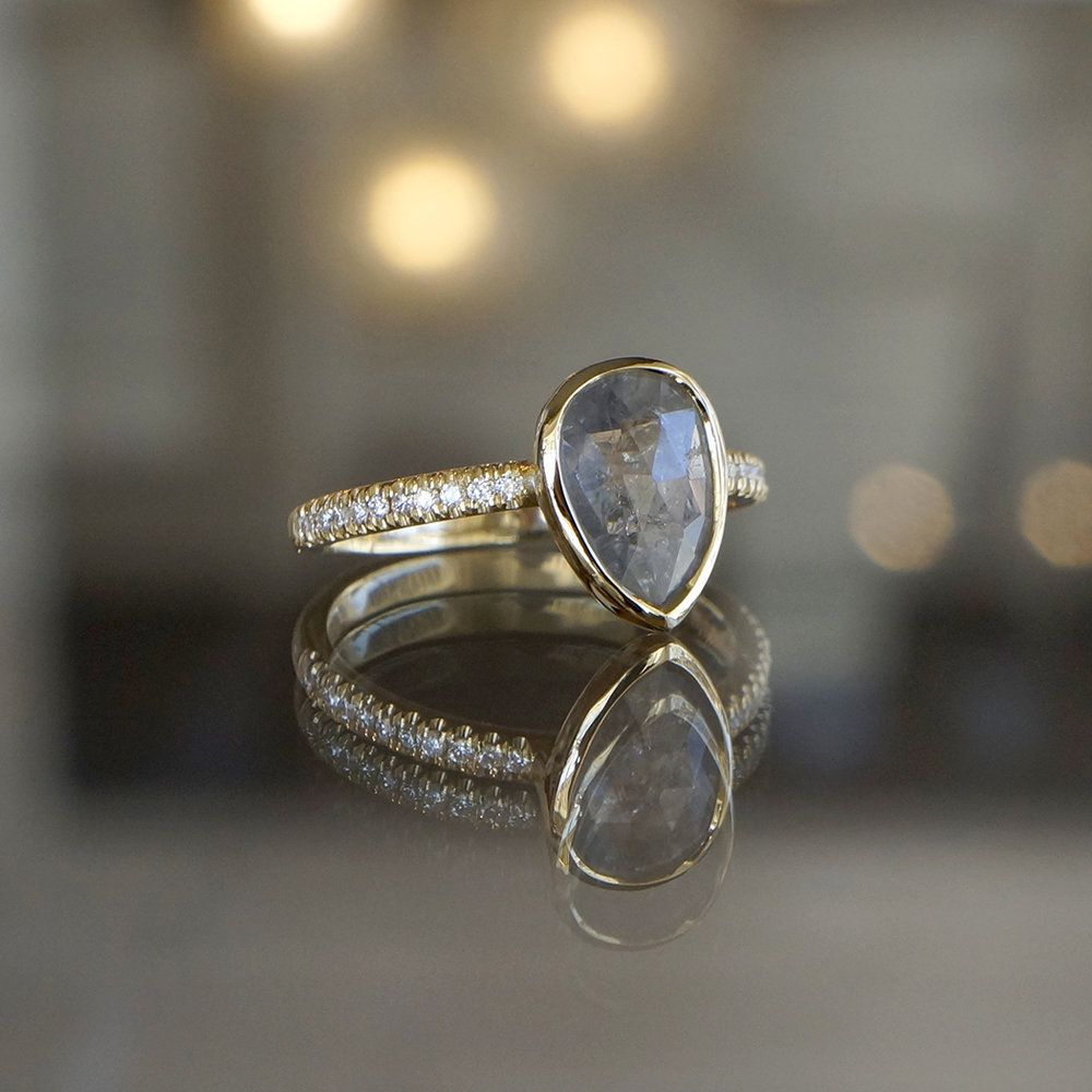 Pear Cut Rough Shire And Pave Diamond Engagement Ring In 14k Yellow Gold At Sarah O