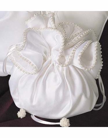 Pearled Edge Satin Bridal Purse With Drawstring Closure