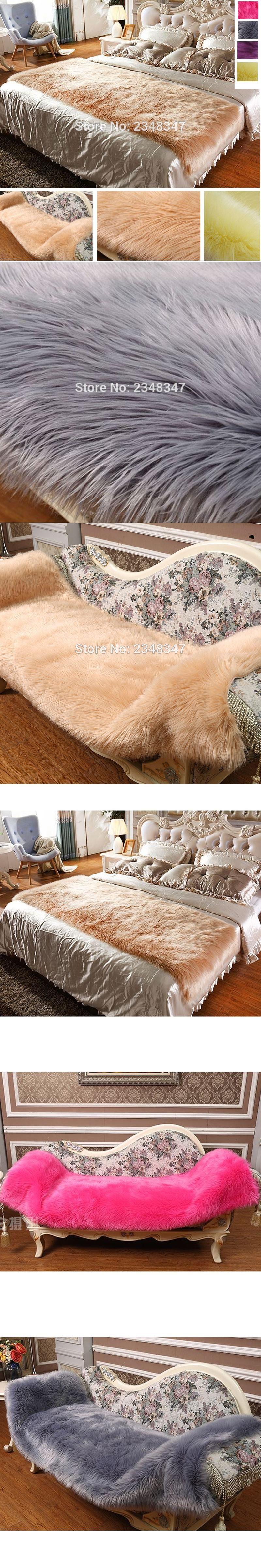 long fur artificial sheepskin rectangle fluffy sofa bed cover carpet
