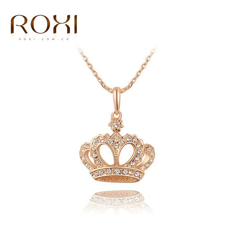ROXI Brand New Gift Classic Crown Pendant Necklace Rose Gold Plated