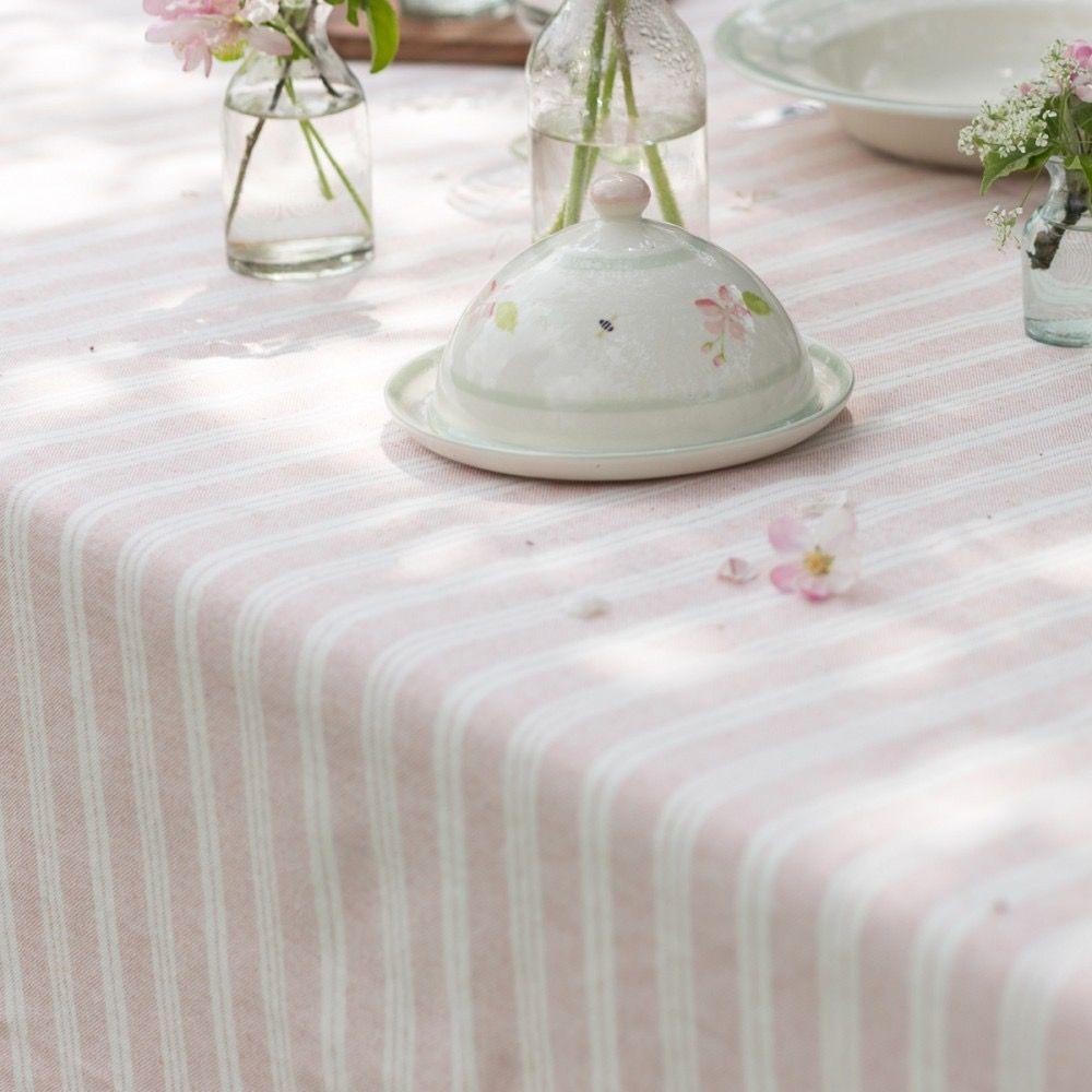 Image of Pale Rose Cambridge Stripe Tablecloth