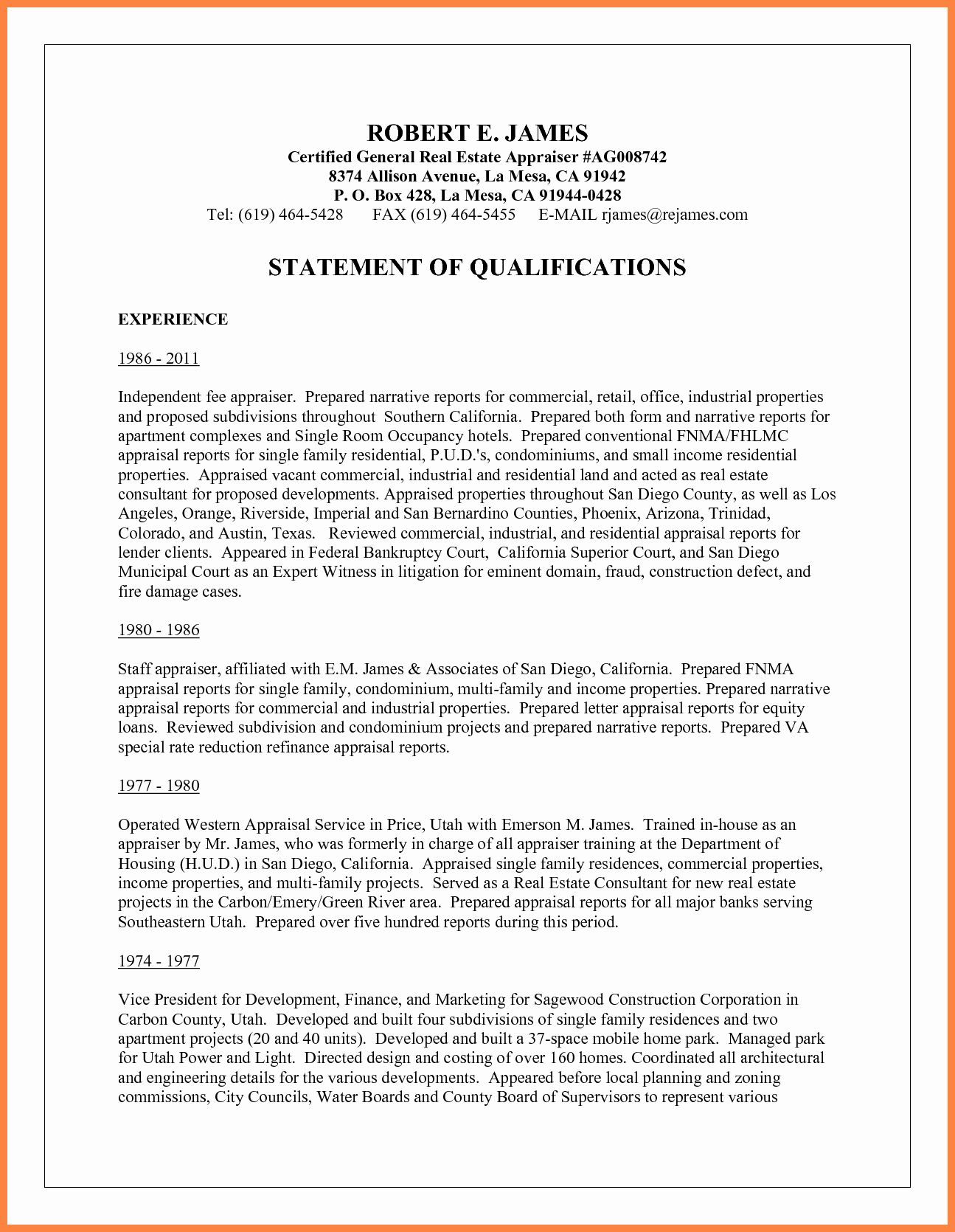 Statement Of Qualifications Template Free Unique 5 Sample Statement Of Qualifications Letter Book Cover Template Template Free Bank Statement Template