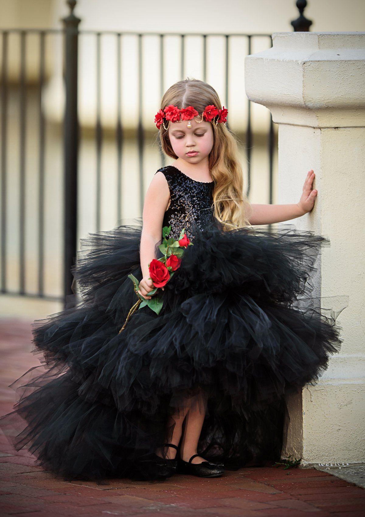 Black Flower Girl Tutu Dress-Black Tutu Dress-Black Dress-Black Girl Tutu-Black Wedding Dress-Black Bride Dress-Black Sequin Tutu Dress