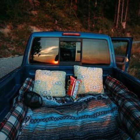 a night at the drive in movie theatre We took his truck and he