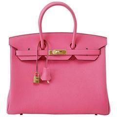 HERMES BIRKIN 35 Bag Rare Pink Rose Lipstick Togo Gold Hardware ... 89d6642fc77dc
