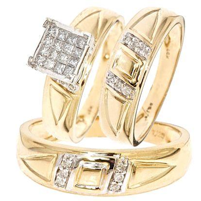 Diamond Trio Set 14k White Gold Ladies Engagement Ring Mens Wedding Band 1 42ct Silvergemsjewelry Rings Mens Wedding Bands Wedding Ring Trio Sets