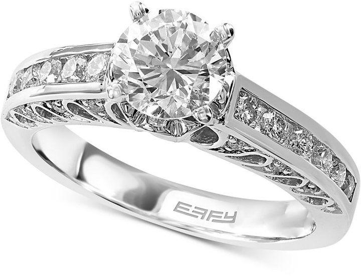 EFFY Bridal Diamond Engagement Ring (1-3/8 ct. t.w.) in 14k White Gold