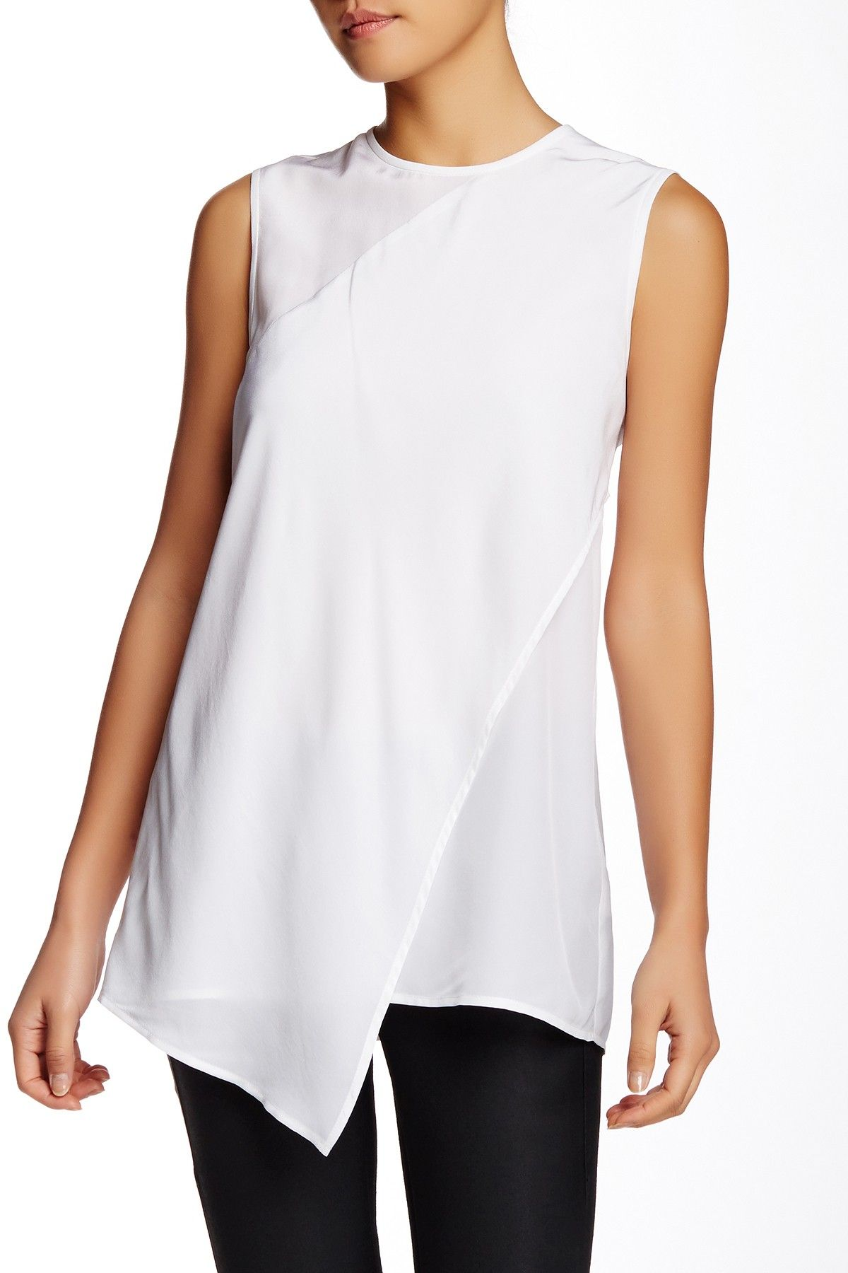 Cut25 by Yigal Azrouel   Layered Silk Hi-Lo Top   Nordstrom Rack