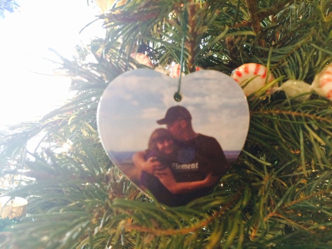 """First Christmas together ornament""! We added 1 ornament each year and this was our first one ever. On the back in has that and the year. So cute to look back at in 50 years"