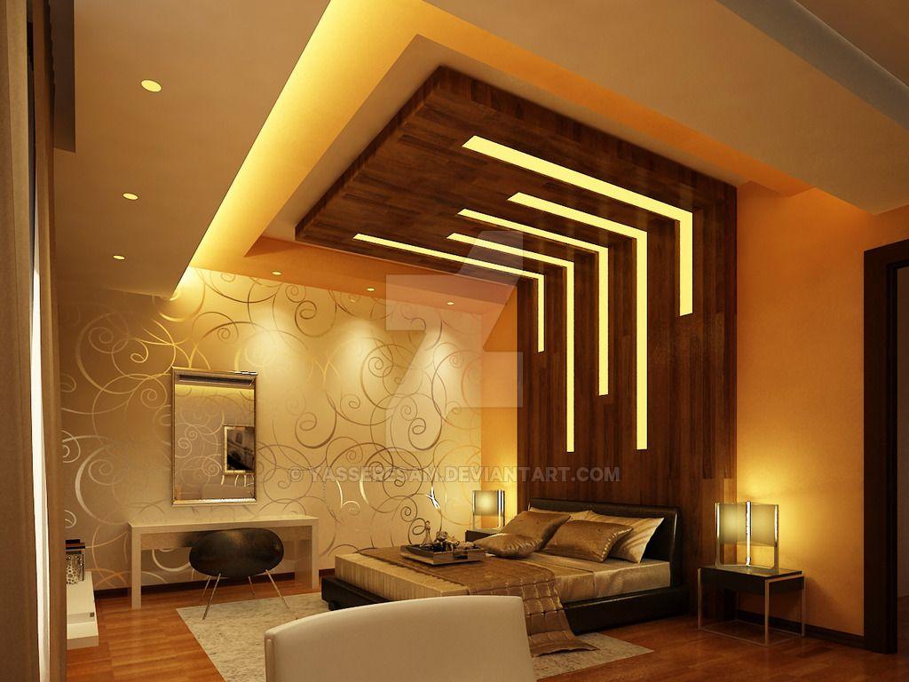 Modern Bedroom by yasseresam | Bedroom false ceiling ...