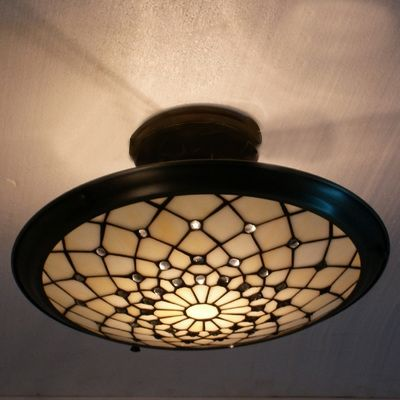 Metal Decor Beige Stained Gl Tiffany Three Light Semi Flush Mount Ceiling