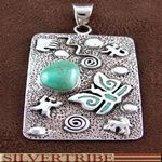 Turquoise And Genuine Sterling Silver Butterfly Pendant