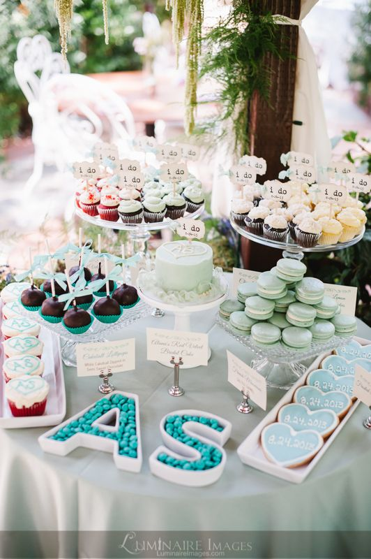 Dessert Table For Wedding Bridal Shower With Custom Monogram Candy Bowls And Personalized Mini Cake