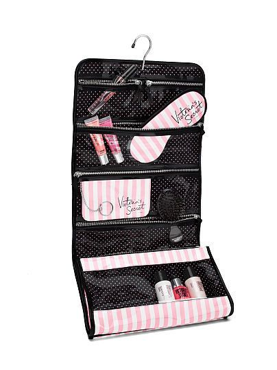Victoria S Secret Iconic Stripe Folding Hanging Cosmetic Bag