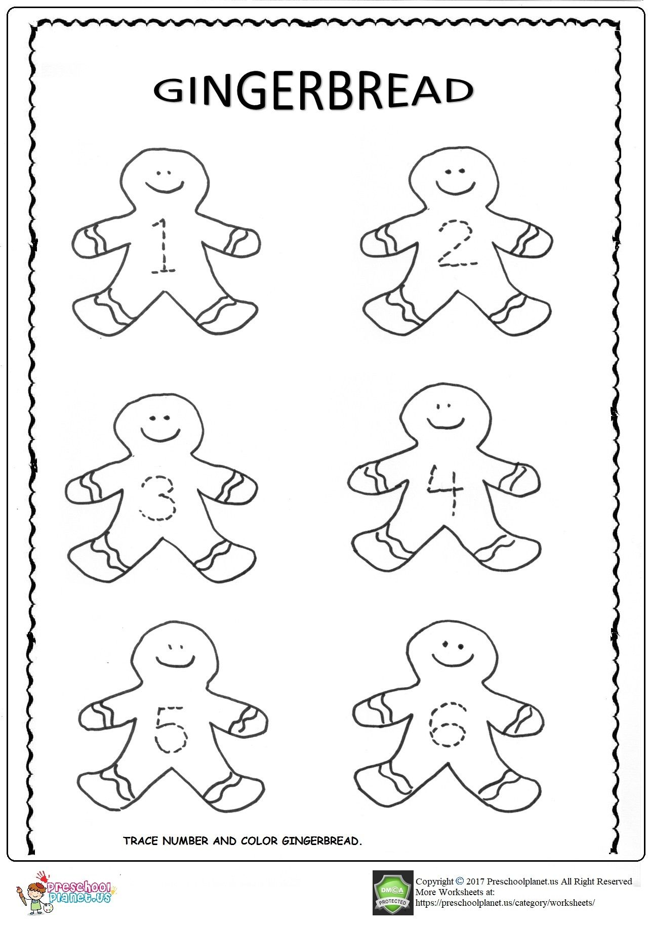 Gingerbread Trace Worksheets In